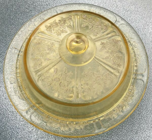 Extremely Rare Authentic Federal Amber Sharon Cabbage Rose Cheese Dish