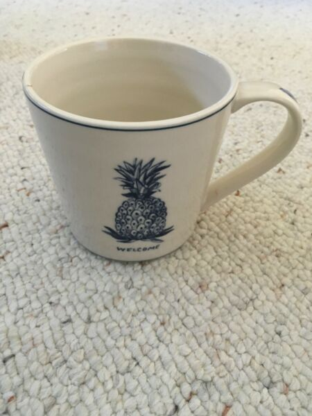 Anthropologie Molly Hatch Pineapple Welcome Coffee Mug Cup NEW $39.99