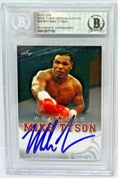 Mike Tyson Signed Leaf Trading Card #SEMT2 Beckett BAS Authentic $198.79