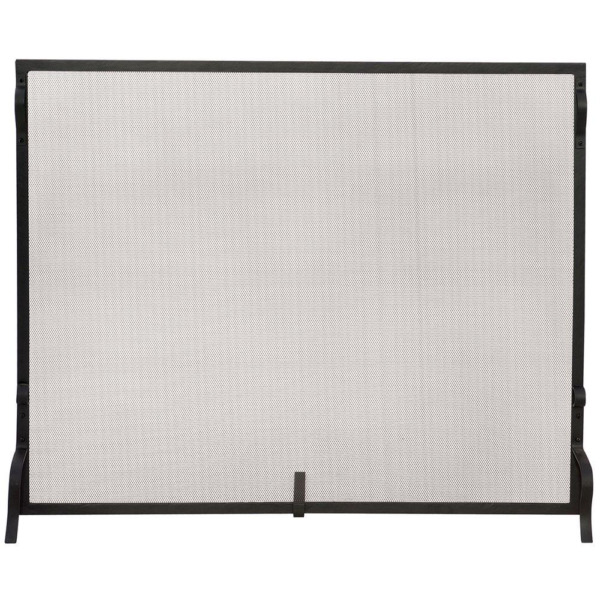 Fireplace Screen Sparkguard Single Panel Durable Frame Wrought Iron Black 41 in.