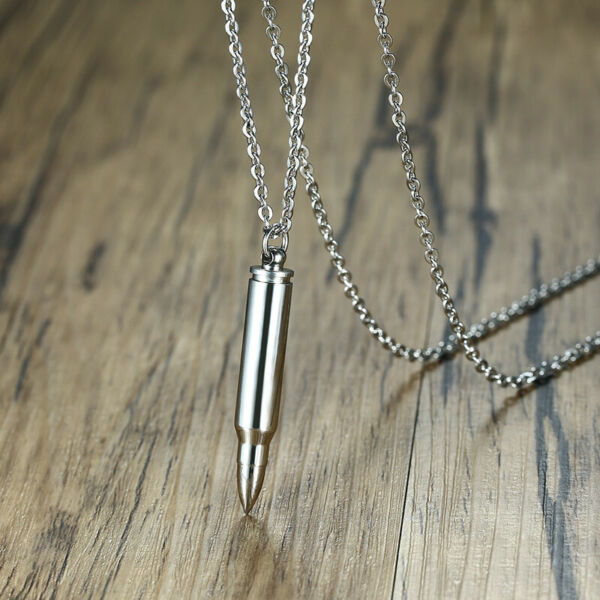 Punk Rock Men Open Necklace Bullet Pendant Ash Urn Cremation Keepsake Fashion