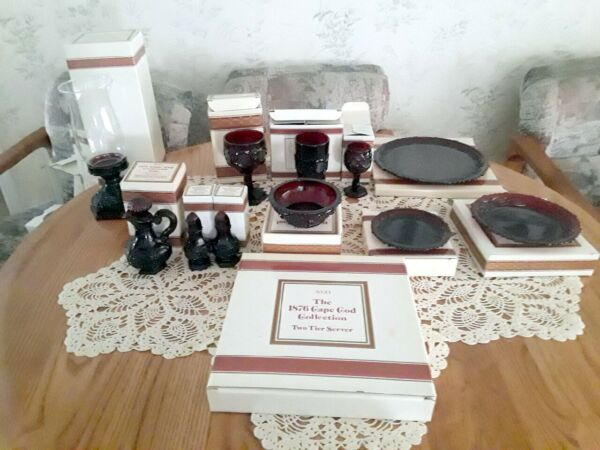 Avon 1876 Cape Cod Ruby Red Dishes 86 Piece Set $350.00