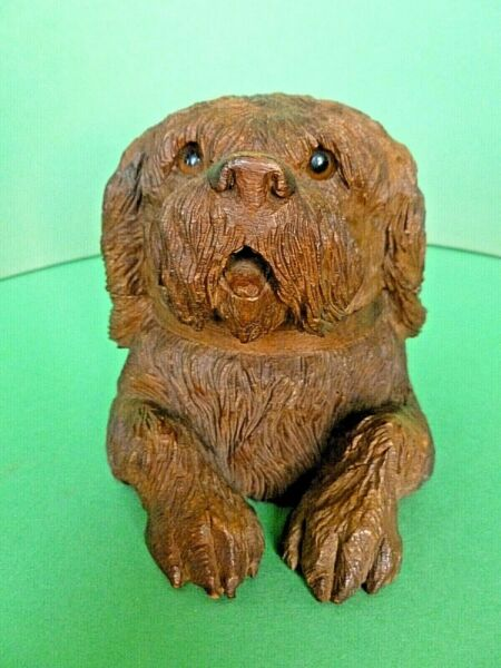 Black Forest Hand Carved Wooden Dog Inkwell Figure Sculpture Swiss Circa 1880#x27;s