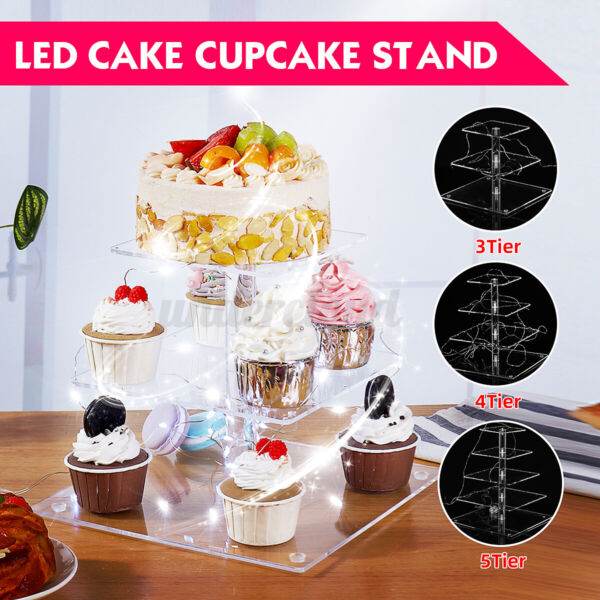 3 4 5 Tier Cupcake Stand Cake Holder Wedding Party Display with LED Strin