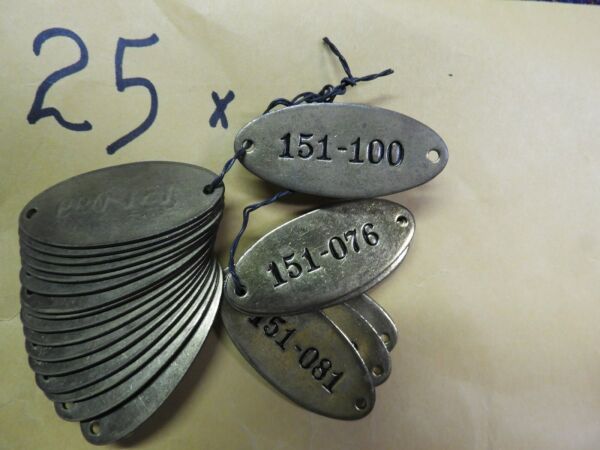 25 Vintage Brass Tags Locker Tags Sequential Industrial Steampunk Unused
