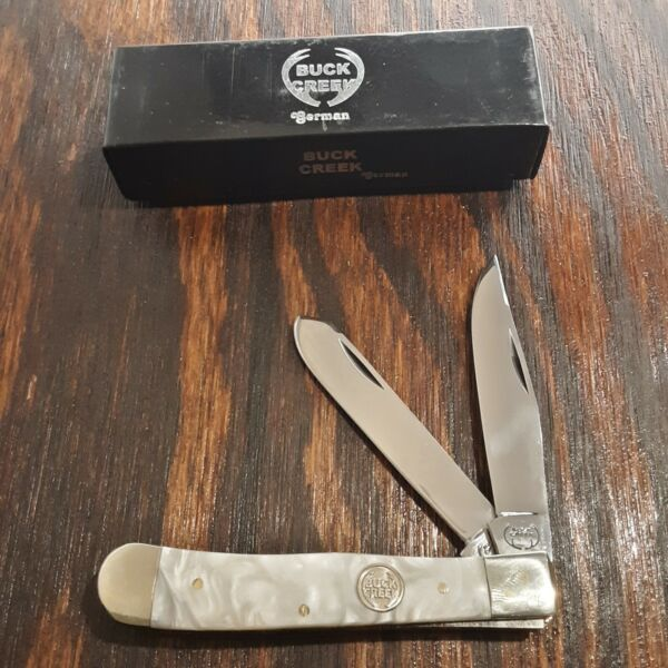 BUCK CREEK KNIFE KNIVES GERMAN 2 BLADE TRAPPER FOLDING POCKET 4 1 8quot; CLOSED