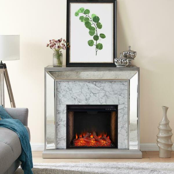 Legamma 44 in. Mirrored Electric Fireplace in Antique Silver with Faux Stone