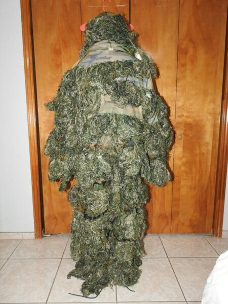 Ghost Ghillie Suit Outdoor 3D Camo Woodland Hunting Ghillie Size Adult Large