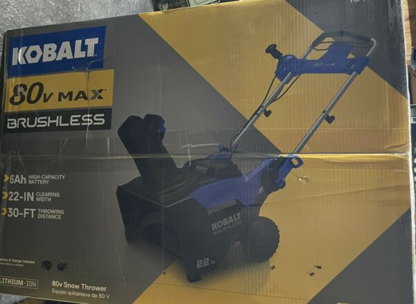 Kobalt 80 Volt Max 22 in Single Stage Cordless Electric Snow Blower Battery Inc