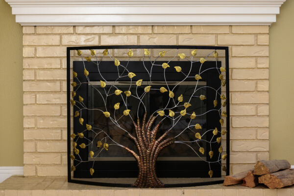Curved Panel Fireplace Screen 39quot; x 33quot; Tree of Life Decorative Mesh Spark Guard