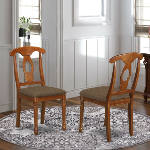 Kenley Saddle Brown Napoleon Dining Chair with Microfiber Seat Set of 2 $149.99