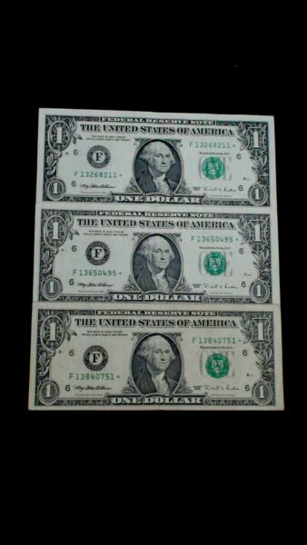 THREE 1995 One Dollar Federal Reserve STAR Notes LOW MINTAGE $1 Bills BUY IT NOW