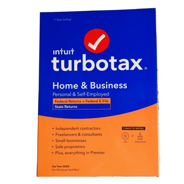 New Turbotax 2020 Home amp; Business Federal E file for Mac Windows CD amp; Download