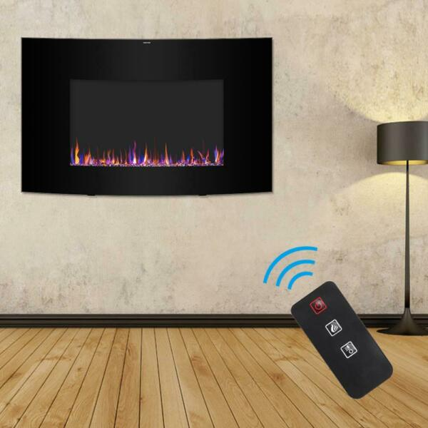 Zokop 35quot; Electric Warm Fireplace Wall Mounted Freestand Heater Multicolor Flame