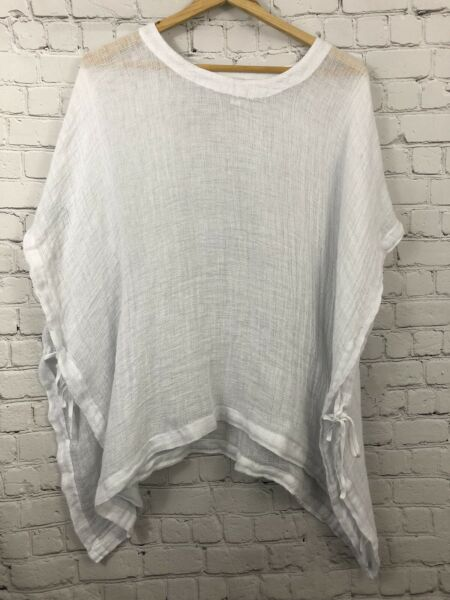 Pure Jill Womens White Mesh Linen Cover Up Top Sheer Size M L Side Ties $24.99
