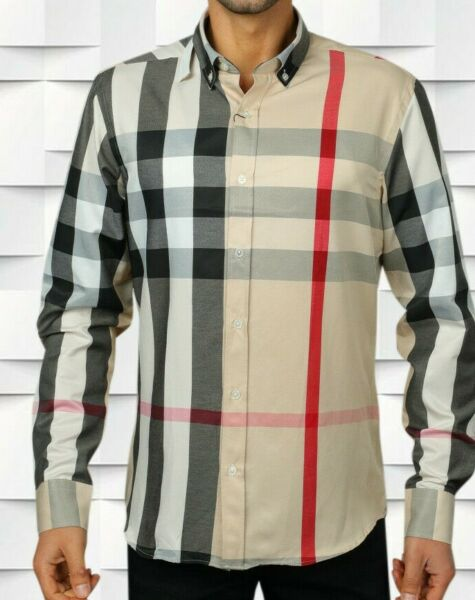 BURBERRY SHIRT CASUAL BEIGE CHECKED SIZE 2XL BRAND NEW MEN $79.00