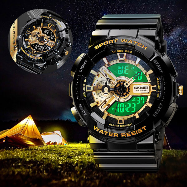 Men Army Military Waterproof Sport LED Quartz Analog Digital Wrist Watch Fashion