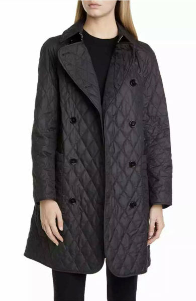 New $990 Burberry Women Tything Diamond Quilted Trench Coat Black Size L $649.00