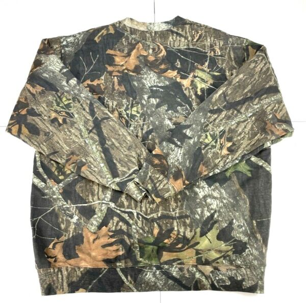Mossy Oak Camo Lightweight Sweatshirt Crewneck Field Staff XL Distressed