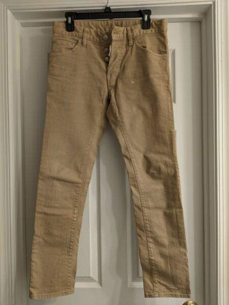 DSQUARED² Beige Stretch Cotton Slim Jeans Size 42 $39.99