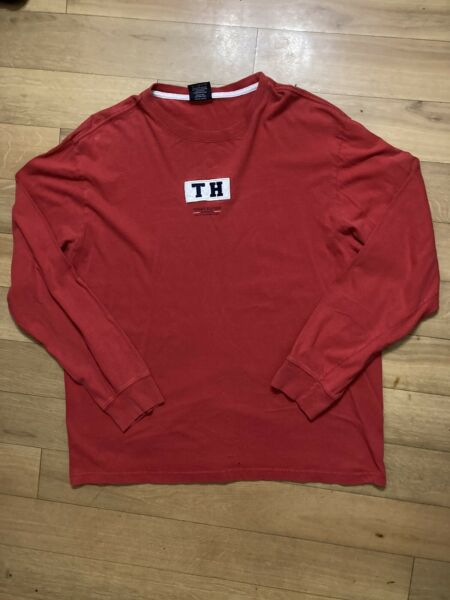 Tommy Hilfiger Distressed Long Sleeve Shirt Mens Size Large $12.00