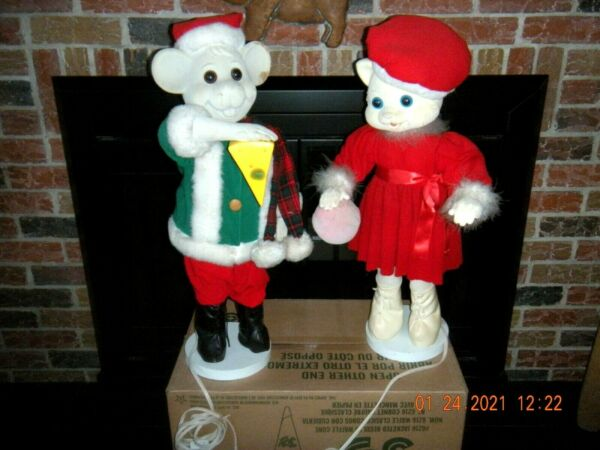 Very Rare Christmas Large Animated Cat and Mouse figures Watch video $200.00