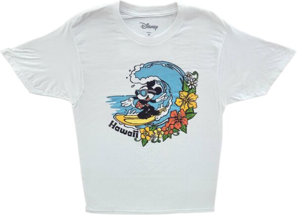 Mens Disney Mickey Mouse Surfing Hawaii Vintage Cartoon T Shirt Retro Disneyland $31.99