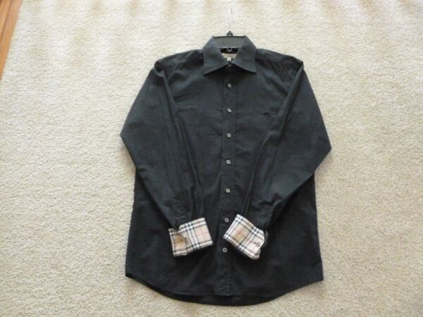 BURBERRY MEN#x27;S BLACK CHECK PLAID CUFFS BUTTON DOWN SHIRT SIZE SMALL $54.99