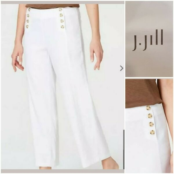 J Jill Linen Stretch Button Front Crop White Sailor Wide Leg Pants Size 16P $28.99