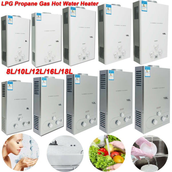 Portable LPG Propane Gas Hot Water Heater 8 10 12 16 18L Tankless Instant Heater $129.09