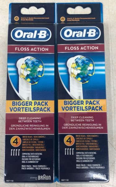 8x NEW ORIGINAL BRAUN ORAL B Floss Action TOOTHBRUSH REPLACEMENT HEADS