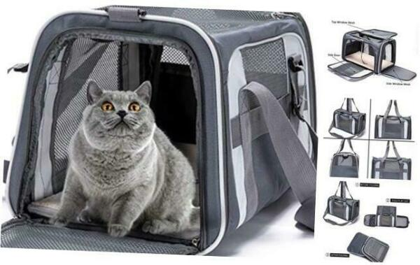 Pet Large Carrier Bag Airline Approved Dog Carriers for Small Dogs Cat gray $48.72