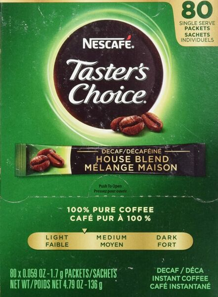 Nescafe Instant Coffee Packets Decaf Taster#x27;s Choice Light Roast 80 Single Serve $13.99