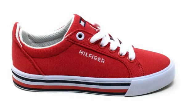 Tommy Hilfiger Youth Herritage Lace Up Fashion Sneakers Tommy Red Canvas Size 11 $29.99