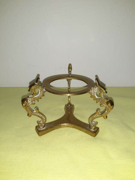 Vintage Brass Ornate Footed Bowl Plant Stand Pedestal Base With Three Dragons