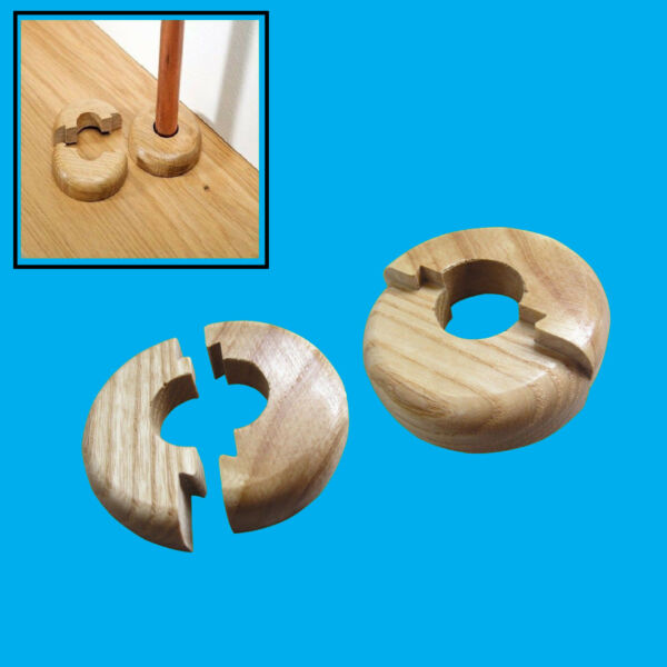 2x Varnished Oak Wood Radiator Pipe Collars for 15mm pipe Easy Fit Covers $6.21