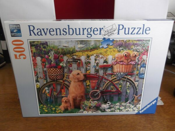 RAVENSBURZGER PUZZLE Cute Dogs in the Garden 500 Piece ONE USE Germany $12.50