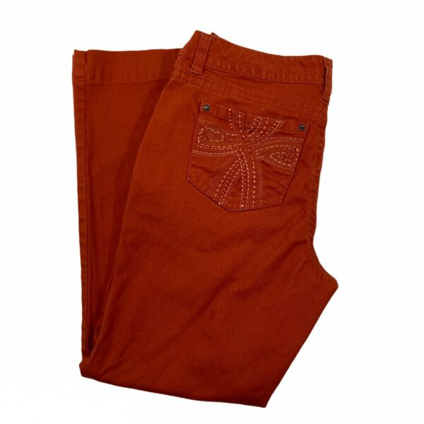 ND Weekend Women's Stretch Jeans Red Orange Embellished Design Petite Size 10P $13.92