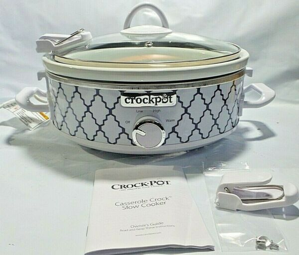 BROKEN CLAMP Crock Pot 2.5 Quart Mini Casserole Crock Slow Cooker White Blue