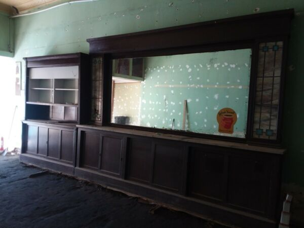 Antique Soda Fountain Backbar and Side Displays with Marble top.