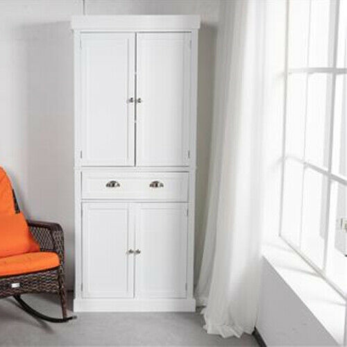 Freestanding Kitchen Pantry Cabinet Cupboard with Doors and 5 Adjustable Shelves