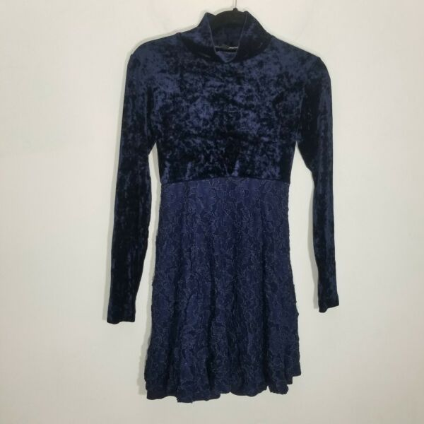 Vintage Betsey Johnson Crushed Velvet Skater Dress M Mock Neck Lace Long Sleeve
