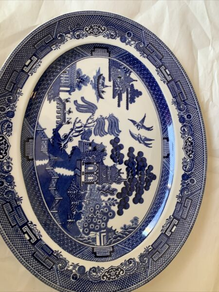 Vintage Johnson Brothers Blue Willow 14quot; x 11quot; Oval Serving Platter Large