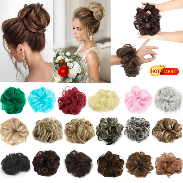 Curly Hair Bun Ponytail Scrunchie Messy Elastic Band Extension Natural HairPiece