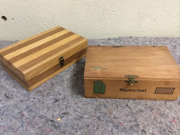 Two Vintage Wood Boxes With Latches Great For Display
