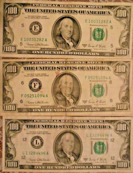 1969 C $100 United States Federal Reserve Notes: Lot of Three