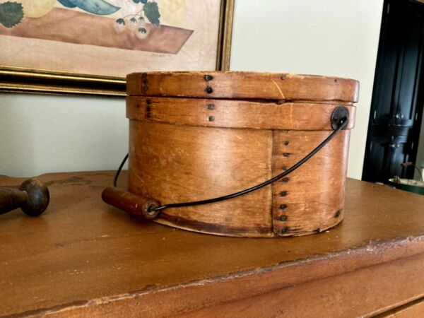 Antique Thick Walled Pantry Box Wood Bail Handle Signed Mrs F.R. Osterhoudt AAFA