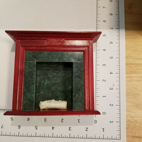 Dollhouse Fireplace in Mahogany and green Marble by Town Square Miniatures