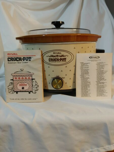Vintage 5 Qt RIVAL Crock Pot Stoneware Slow Cooker Model 3355 USA Removable Crok