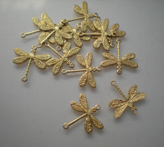12 small brass dragonfly connectors